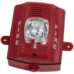 OUTDOOR 2 WIRE HORN STROBE WALL STAND. RED